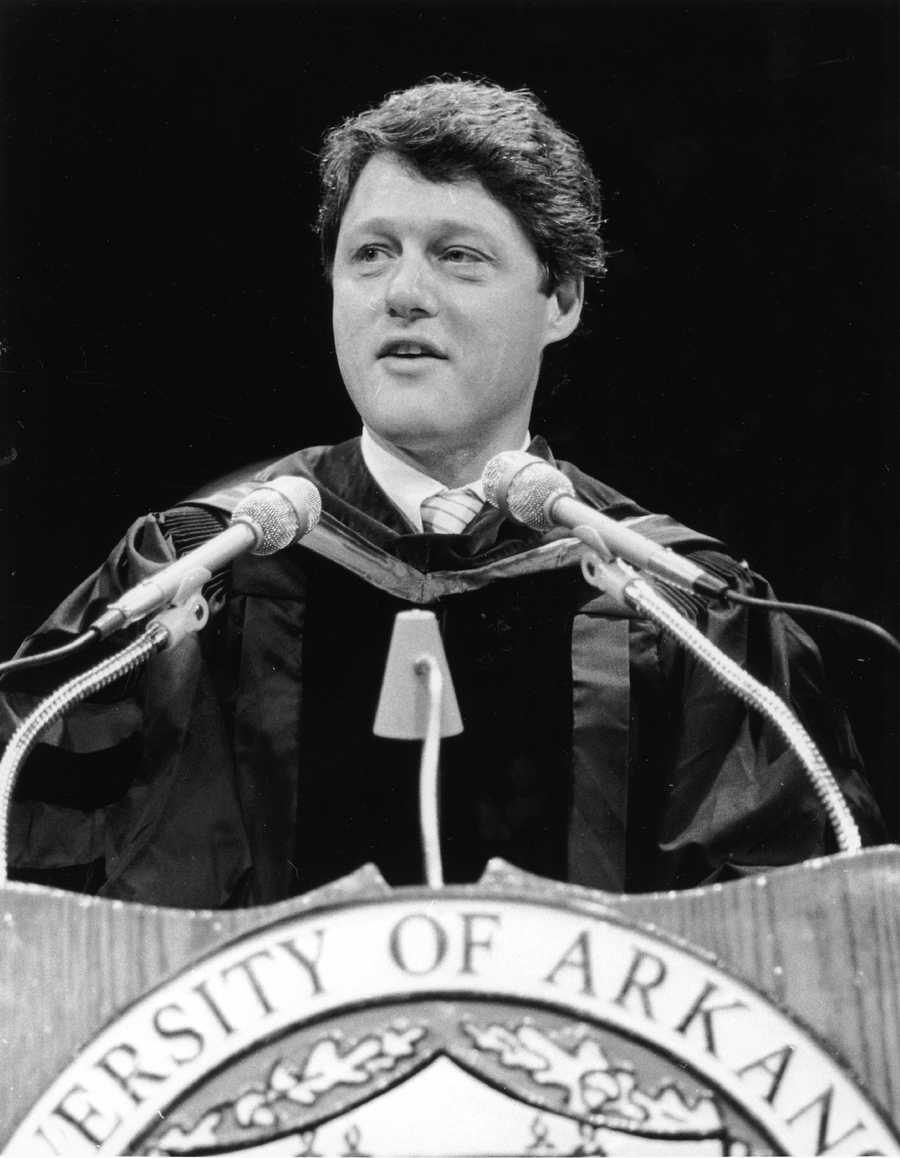 Bill Clinton speaking at the University of Arkansas, 1987