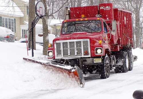 Don't overtake a snow plow truck no matter how much of a hurry you are in. Allow them to do their job so you can get where you are going safely. -National Safety Council