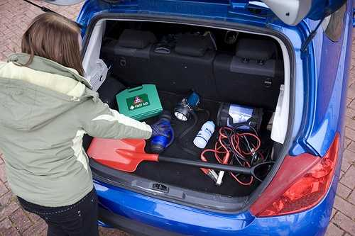 """A complete emergency kit includes a properly inflated spare tire, wheel wrench and tripod-type jack, a shovel, jumper cables, tow and tire chains, bag of salt or cat litter, and tool kit.""- National Safety Council"