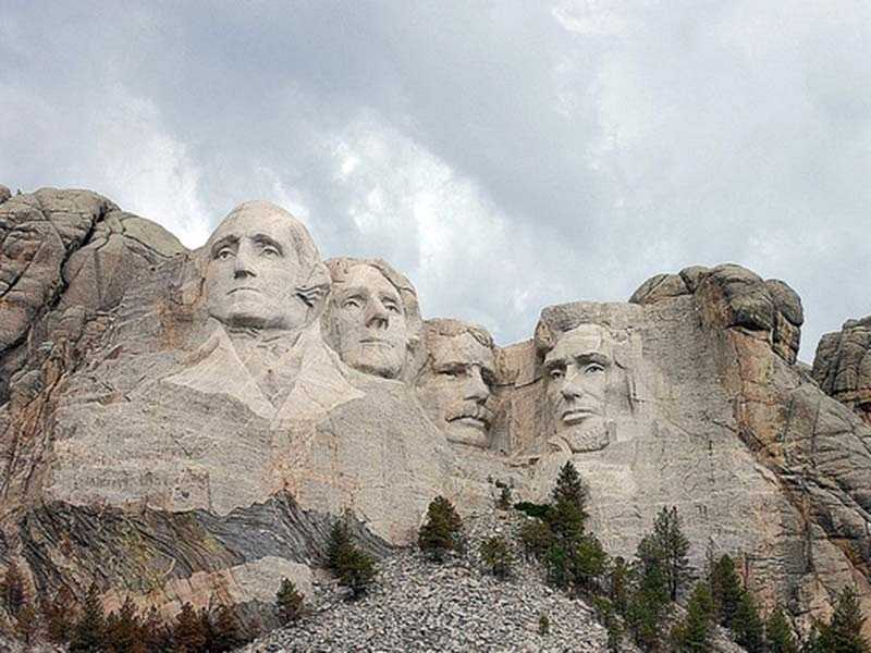 The original Mt. Rushmore plans called for George Washington, Thomas Jefferson, Theodore Roosevelt and Abraham Lincoln to be depicted from head to waist, but a shortage of funding required the construction to end early.