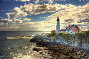 This is an HDR (high-dynamic range) shot of Portland Head Light, whose illumination can be seen up to 24 miles away.