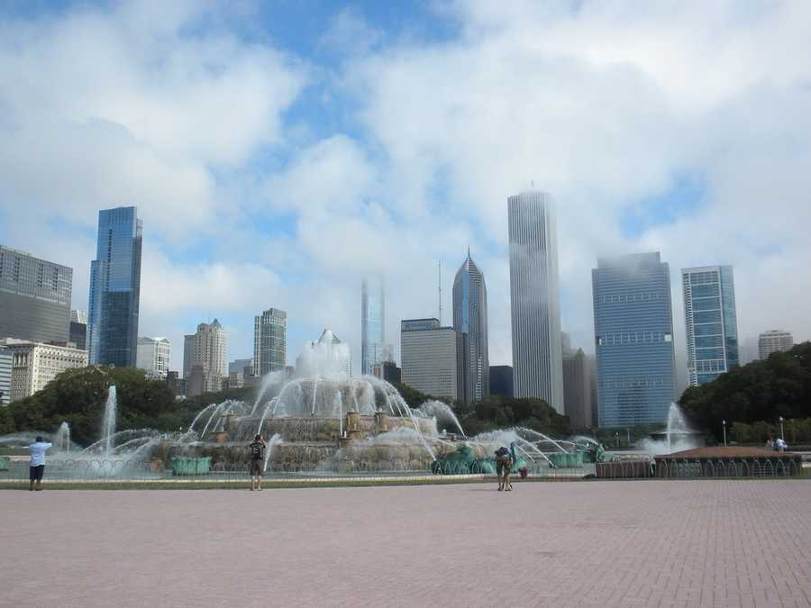 Buckingham Fountain is one of the largest in the world, and during cold Chicago winters, is decorated with holiday lights.