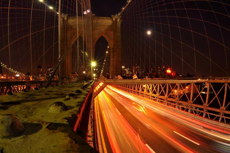 At the time of its completion in 1883, the Brooklyn Bridge was the world's longest suspension bridge.