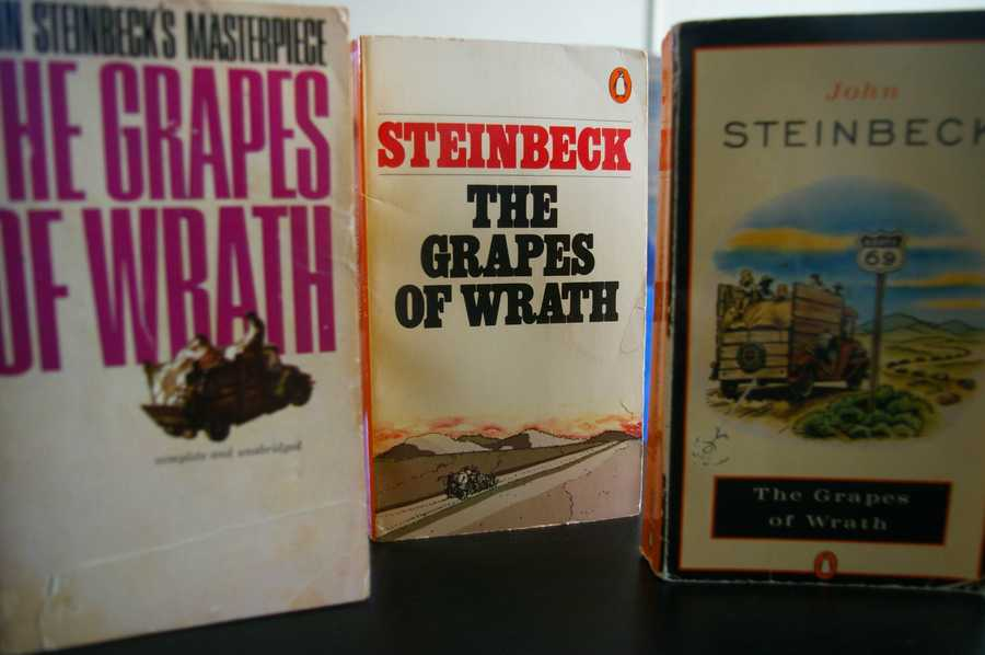 "The Grapes of Wrath, John Steinbeck, 1939A classic novel now frequently assigned as required reading for students,  Steinbeck's novel was first banned in 1939 in California. Objections to profanity and sexual references continued from then into the 1990s. It is a work with international banning appeal: the book was barred in Ireland in the 50s and a group of booksellers in Turkey were taken to court for ""spreading propaganda"" in 1973."