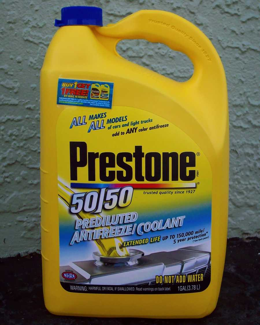 Like coolant, antifreeze is lethal for pets. Thoroughly clean up any spills from your vehicle, and consider using products that contain propylene glycol rather than ethylene glycol.