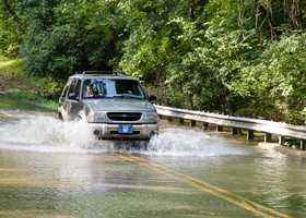 Although you may be driving an SUV or a large truck and it looks like it will clear that flooded road, you should not attempt to pass the floodwaters in your vehicle. It will not take much rushing water to sweep away a large vehicle. If you are presented with flooded roadways, turn around and find other ways to reach your destination. (Source: Reader's Digest)
