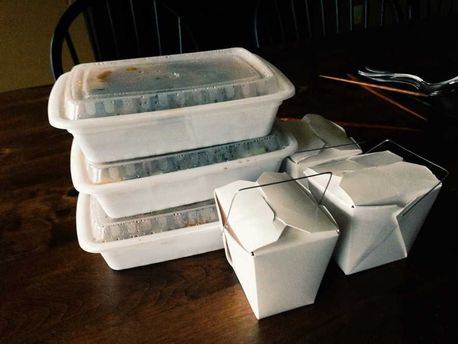 Chinese Takeout ContainersAlthough Chinese takeout containers are convenient for eating leftover chinese food without dirtying dishes, they should not be microwaved due to their metal handles. When any metal is microwaved, even the little amount found on the handles, they can start fires. Put your leftover Chinese food into a bowl and then microwave. (Source: Reader's Digest)