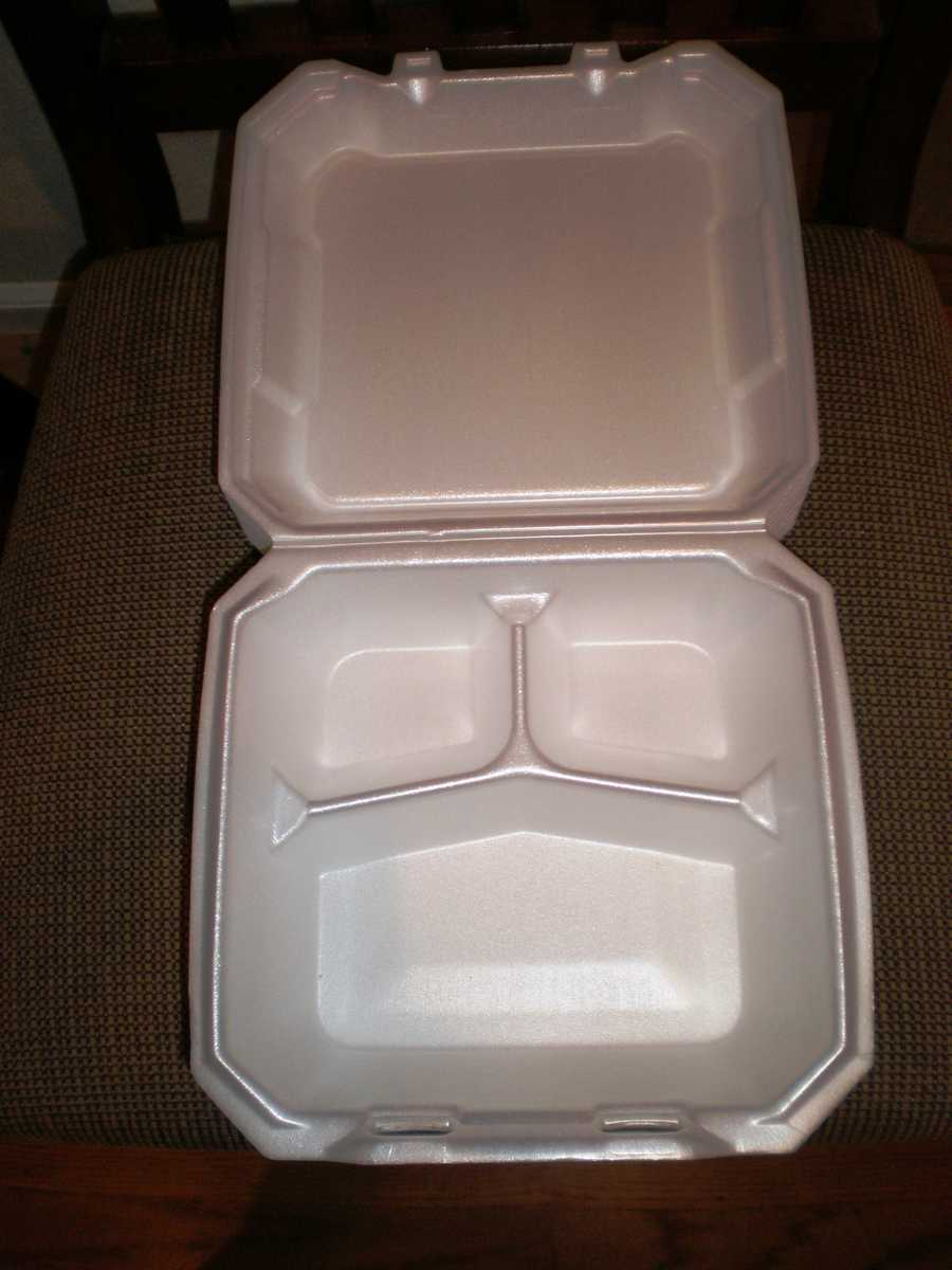 Styrofoam ContainersStyrofoam containers when heated in a microwave can release harmful chemicals into your food that you then consume. Similar to plastic containers, a good alternative is to put your food on a plate and then heat. (Source: Reader's Digest)
