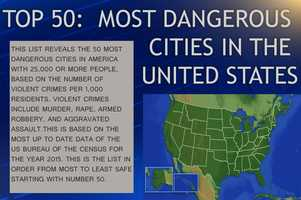 This list from neighborhoodscout.com reveals the Top 50 Most Dangerous Cities in the United States by crime rate. It's based on the number of violent crimes per 1,000 residents. Violent crimes include murder, rape, armed robbery and aggravated assault. This list is derived from the 2015 U.S. Census. For more info, click here.