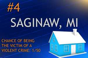 Violent crimes in Saginaw, MIPopulation 50,303MURDER    RAPE    ROBBERY    ASSAULTREPORT TOTAL3170131775RATE PER 1,0000.621.392.6015.41