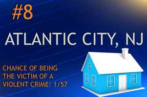 Violent crimes in Atlantic City, NJPopulation 39,551MURDER    RAPE    ROBBERY    ASSAULTREPORT TOTAL313*367306RATE PER 1,0000.080.339.287.74