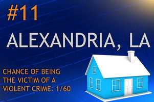 Violent crimes in Alexandria, LAPopulation 48,426MURDER    RAPE    ROBBERY    ASSAULTREPORT TOTAL616*156630RATE PER 1,0000.120.333.2213.01
