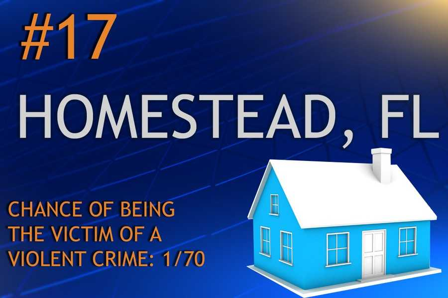 Violent crimes in Homestead, FLPopulation 64,079MURDER    RAPE    ROBBERY    ASSAULTREPORT TOTAL232344544RATE PER 1,0000.030.505.378.49