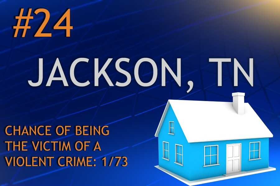 Violent crimes in Jackson, TNPopulation 67,685MURDER    RAPE    ROBBERY    ASSAULTREPORT TOTAL1140151723RATE PER 1,0000.160.592.2310.68