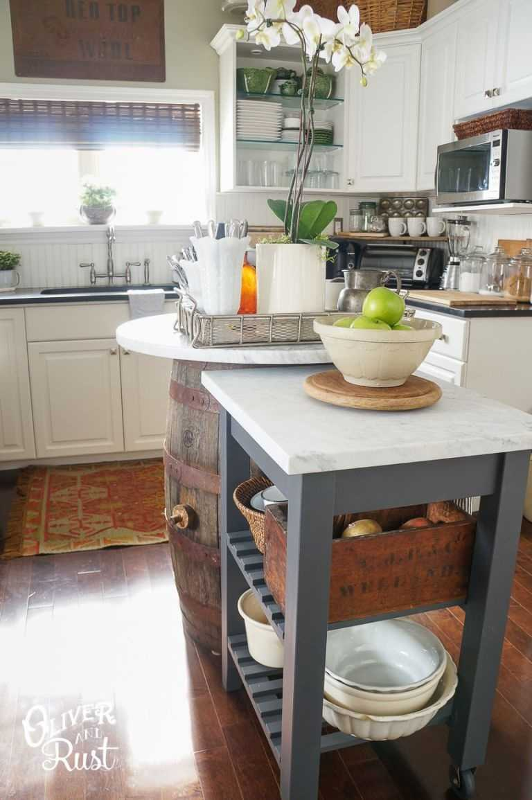 Try a Moveable Island ExtensionWhile you might not want to block your kitchen with a bulky island at all times, a unit on wheels gives you flexibility when you need it most ? like prepping for a big Sunday night dinner!Get the tutorial at Oliver and Rust »