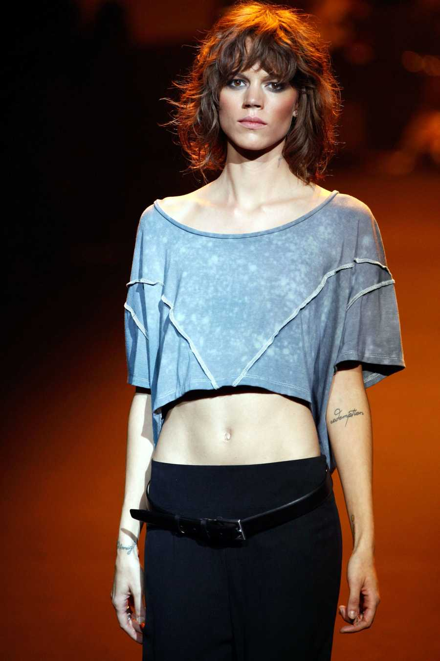 "Freja Beha ErichsenThe model has a number of tattoos, from ""redemption"" on her left forearm to ""float"" scrawled on the left side of her neck."