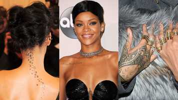 "Rihanna Rihanna has at least 22 tattoos, including a string of stars down her neck, the goddess Isis beneath her breasts, ""Never a failure, always a lesson"" scrawled across her right shoulder and henna-inspired designs on her left hand."