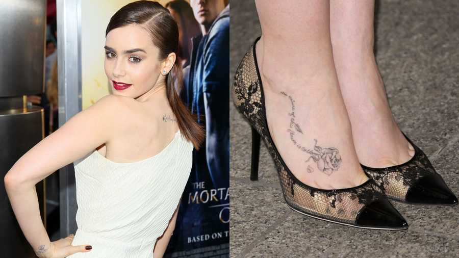 "Lily Collins Collins has ""Love Always and Forever"" inked at the base of her neck, a rose and the words, ""the nature of this flower is to bloom,"" on her right foot, and the British crown with angel wings on her left wrist."