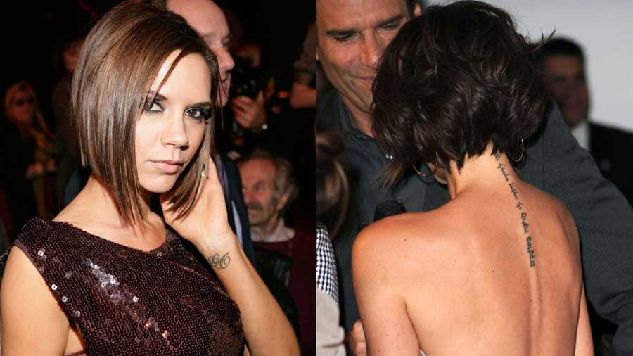 Victoria Beckham Posh has hubby David's initials tattooed on her left wrist, and a quote from Song of Solomon in Hebrew down her back.