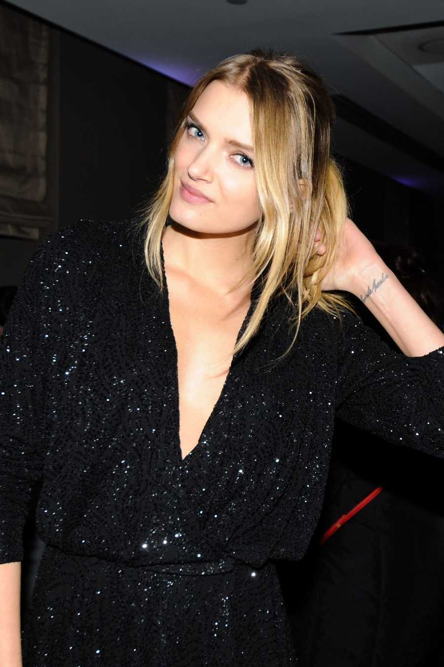 Lily Donaldson The model has her mother's and sister's names inked on her left wrist.