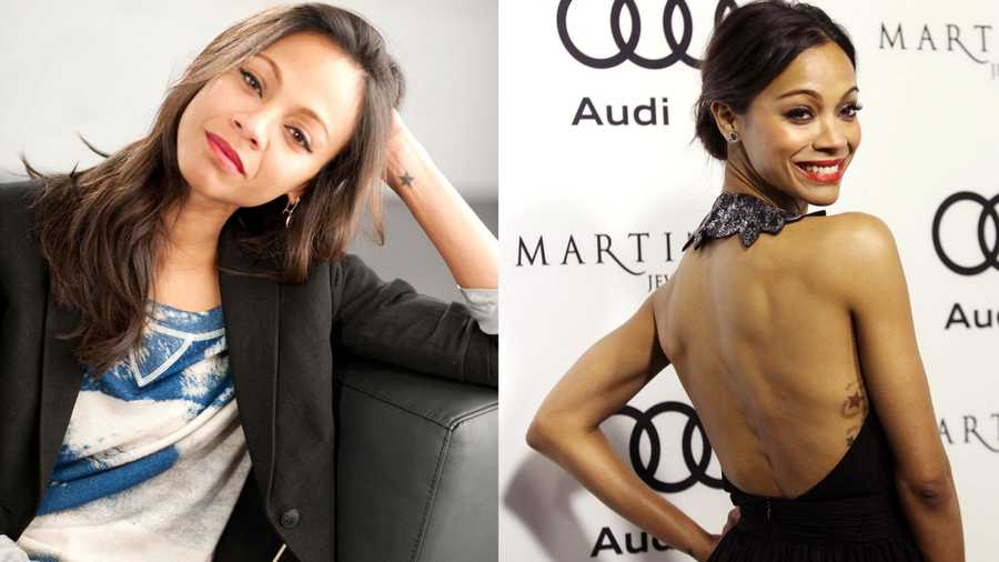 Zoe Saldana Saldana has stars tattooed on her wrist, ribcage and foot, as well as words in Arabic on her back and foot.