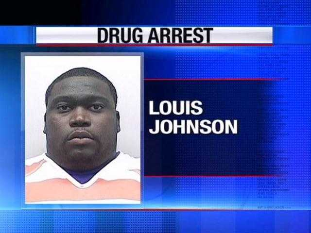 Louis Johnson is charged with possesion of cocaine and marijuna, authorities say.