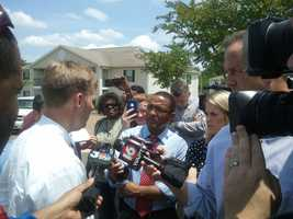 Rankin County District Attorney Michael Guest answers questions from the media about the shooting.