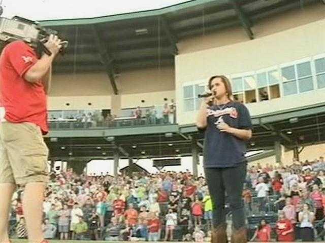 American Idol contestant Skylar Laine performed the national anthem before the Mississippi Braves game at Trustmark Park.