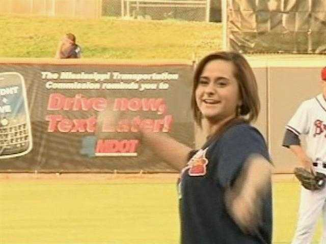 Skylar Laine threw out the first pitch for the M-Braves.