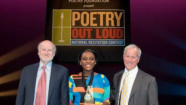 NEA Chairman Rocco Landesman, 2012 Poetry Out Loud National Champion Kristin Dupard (also Mississippi State Champion), and John Barr, President of the Poetry Foundation at the 2012 Poetry Out Loud National Finals in Washington, DC. Photo by James Kegley