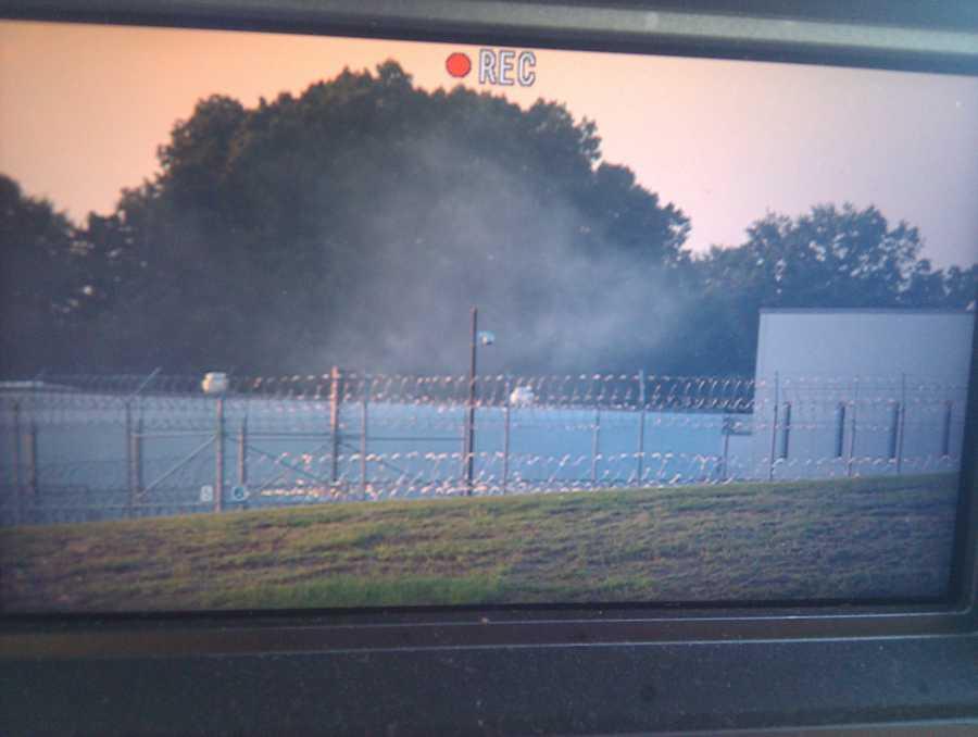 Tear gas outside the Adams County correctional facility.