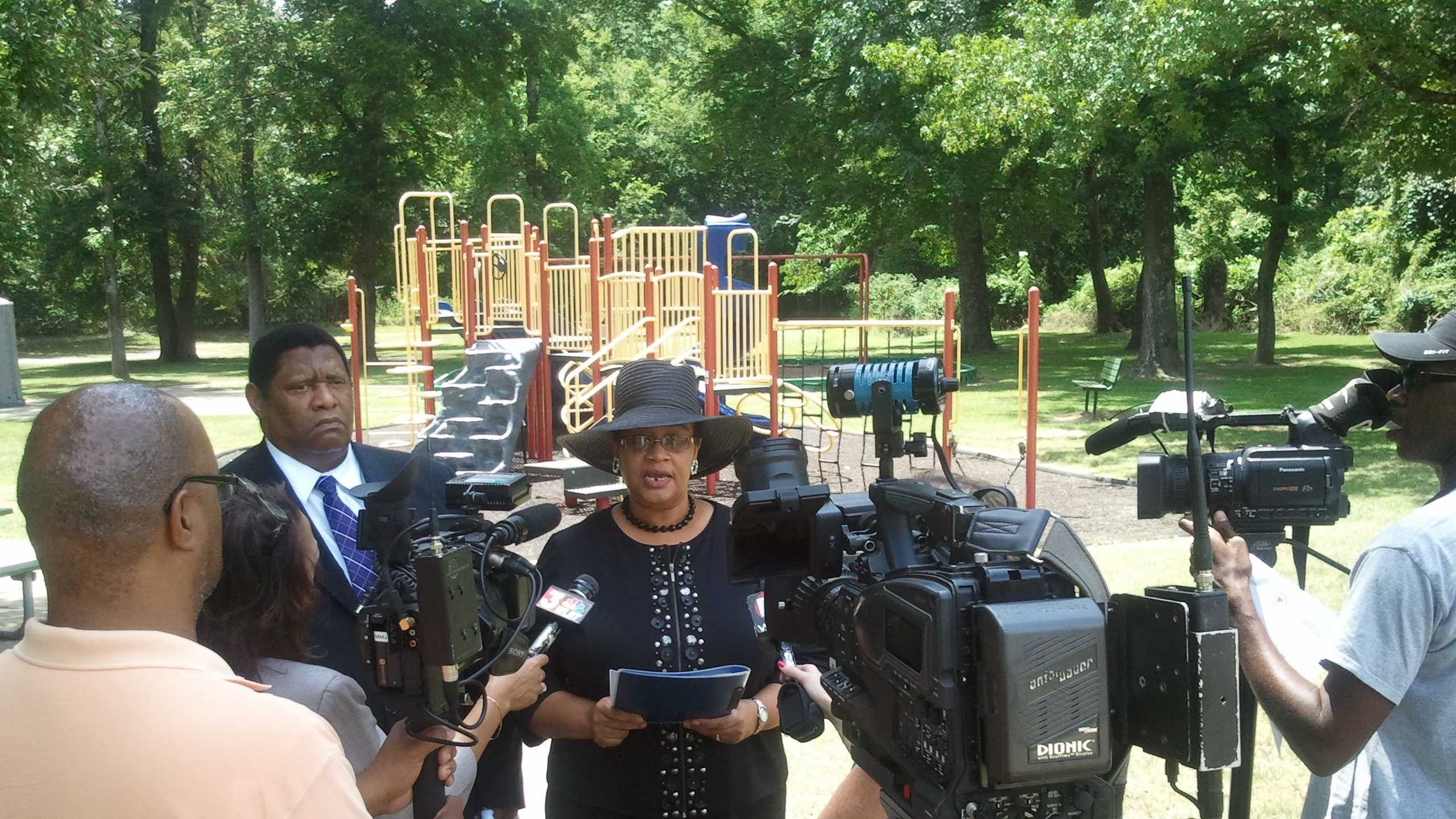 Larita Cooper-Stokes holds a news conference in Jackson.