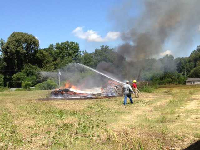 A man was working to clear a lot and burn down a mobile home in Bovina on Wednesday.