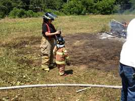 Four-year-old Seth Martin, who is related to one of the firefighters, was able to put his skills to work.