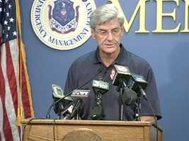 Gov. Phil Bryant gives an update on Isaac on Sunday.