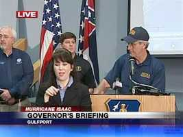 Gov. Phil Bryant provides an update Tuesday on Hurricane Isaac.