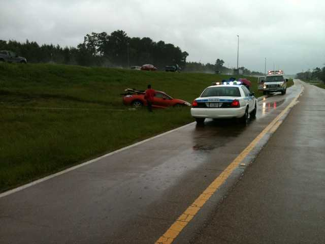 Several wrecks were blamed on the wet conditions, including this one on Interstate 55 in Jackson.