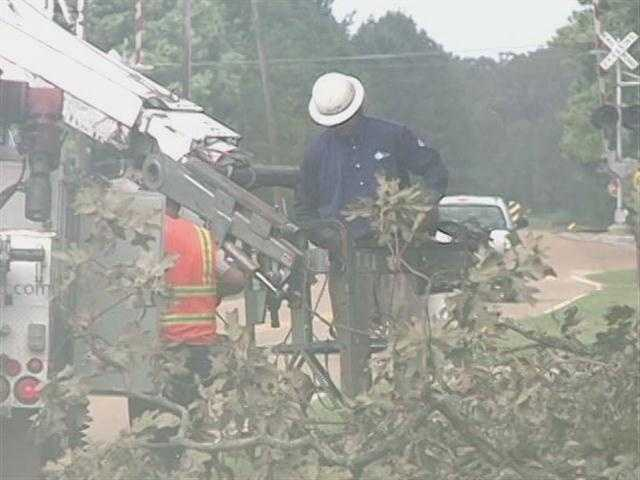 Utility crews from across the U.S. were in Mississippi helping to restore power after Isaac.
