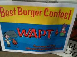 A 16 WAPT team competes in the Best Burger Contest at the Mississippi State Fair.