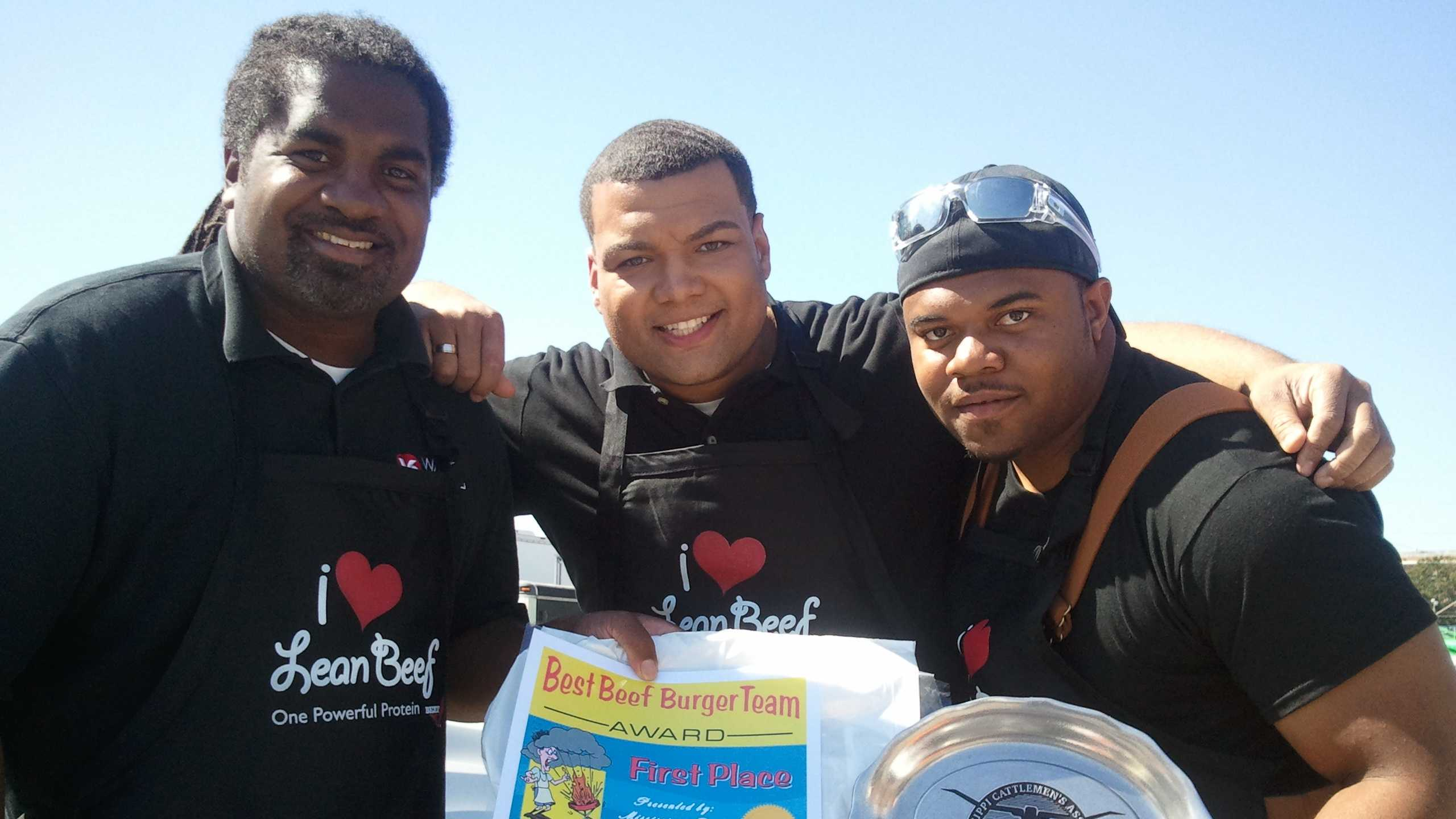 16 WAPT's Lamonte Brown, Andrew Kinsey and JaMichael Chambers take home the Best Burger Contest win.