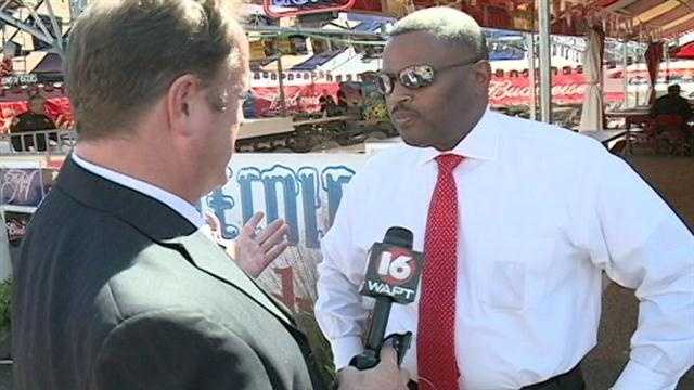 Hinds County Sheriff Tyrone Lewis speaks to 16 WAPT's Scott Simmons at the Mississippi State Fair.