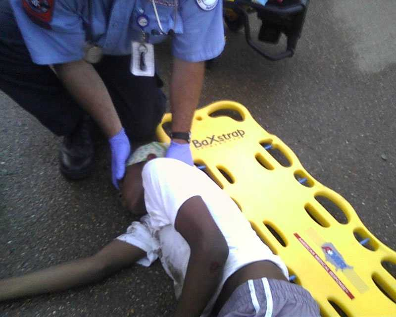 Maquadise Bonsalter got knocked out after hitting a pothole in the Chastain Middle School parking lot and being thrown from his bike.