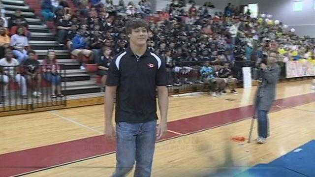 Clinton hosts a pep rally for their senior quarterback Cale Luke, the Blitz 16, BankPlus Player of the Week