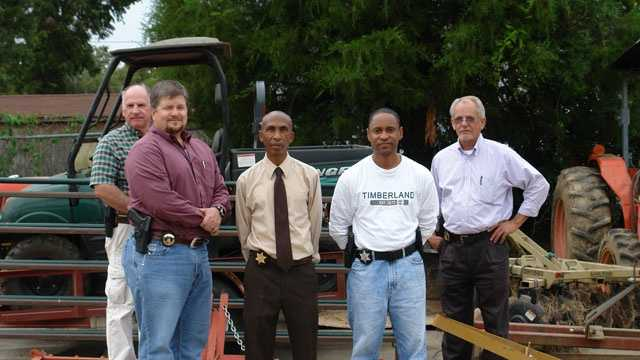 Some of those involved with the joint investigation include (from left to right) MDAC Investigator Lee Barkdull, MDAC Mississippi Agricultural and Livestock Theft Bureau Director Jeff Stewart, Claiborne County Sheriff Marvin Lucas, Claiborne County Chief Investigator Lt. Robert W. Starks, and MDAC Investigator Mike McGowan.
