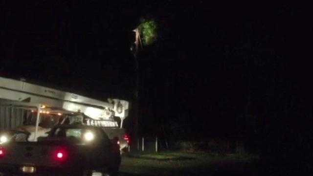 The storm knocked down power lines around Mississippi, leaving hundreds of residents in the dark.