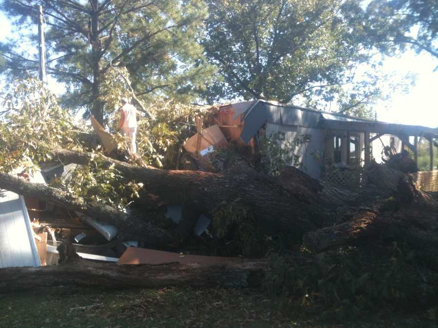 A tree falls on a mobile home in Scott County, injuring one woman, who had to be cut from the wreckage.
