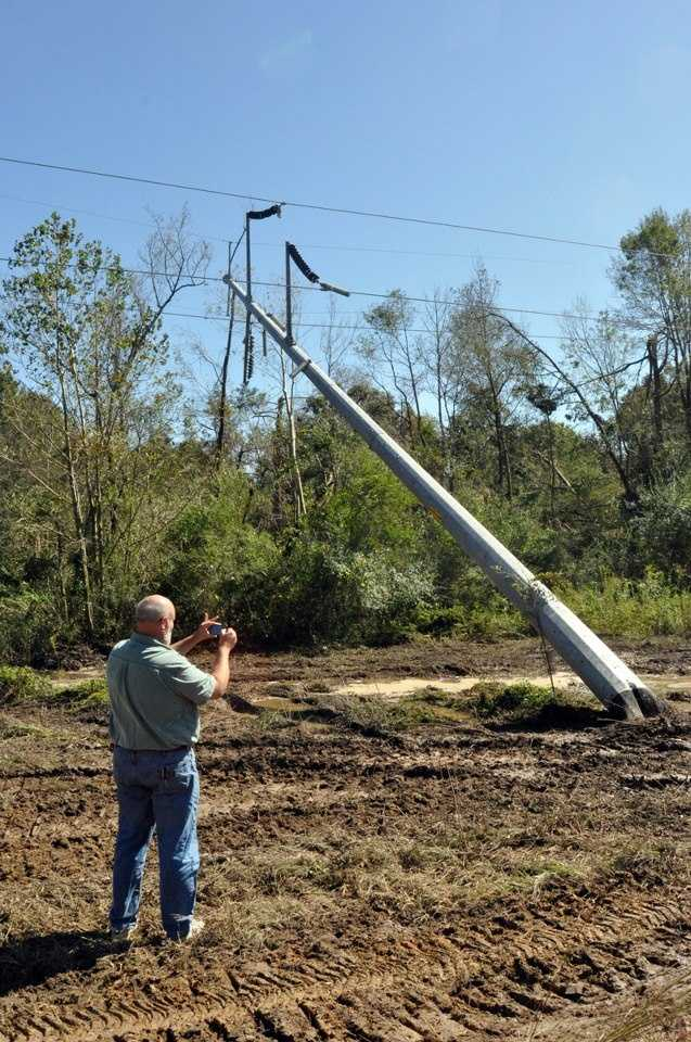 The National Weather Service documents damage in Scott County, west of Conehatta.