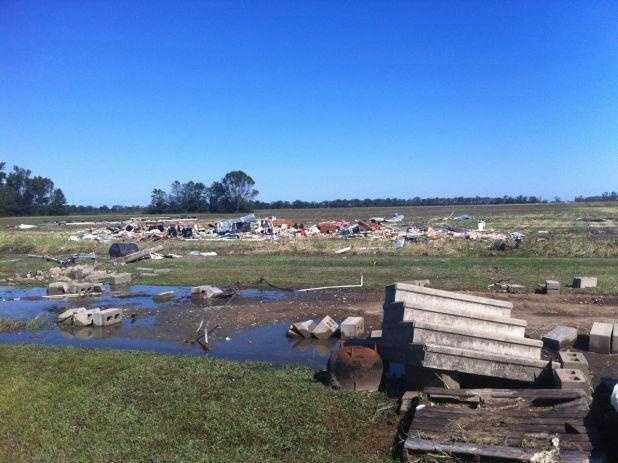 National Weather Service surveys damage on Highway 14 in Sharkey County.