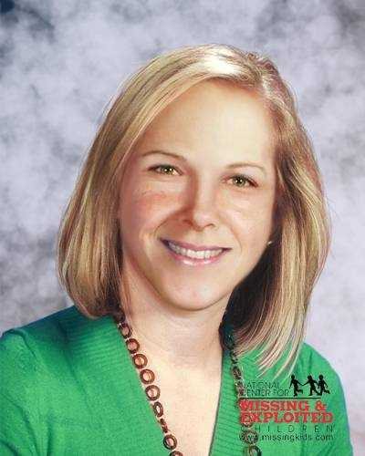 Leigh Occhi is shown in this age-progressed photo at age 31 years old. However, Leigh is 33 years old today. She has blonde hair and hazel eyes.