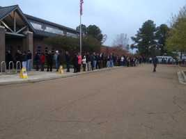 By 6:45 a.m., the line had tripled in size in Flowood.